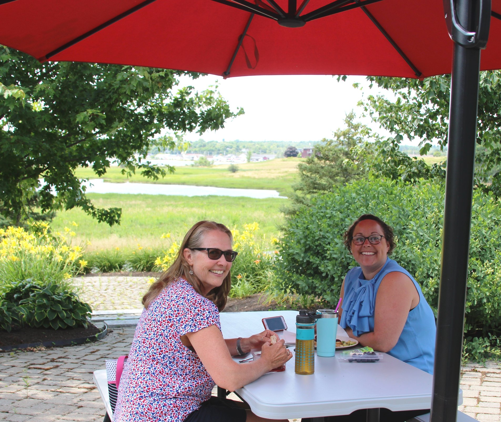 Grace and Devon took advantage of a glorious summer weather day by enjoying lunch on the patio