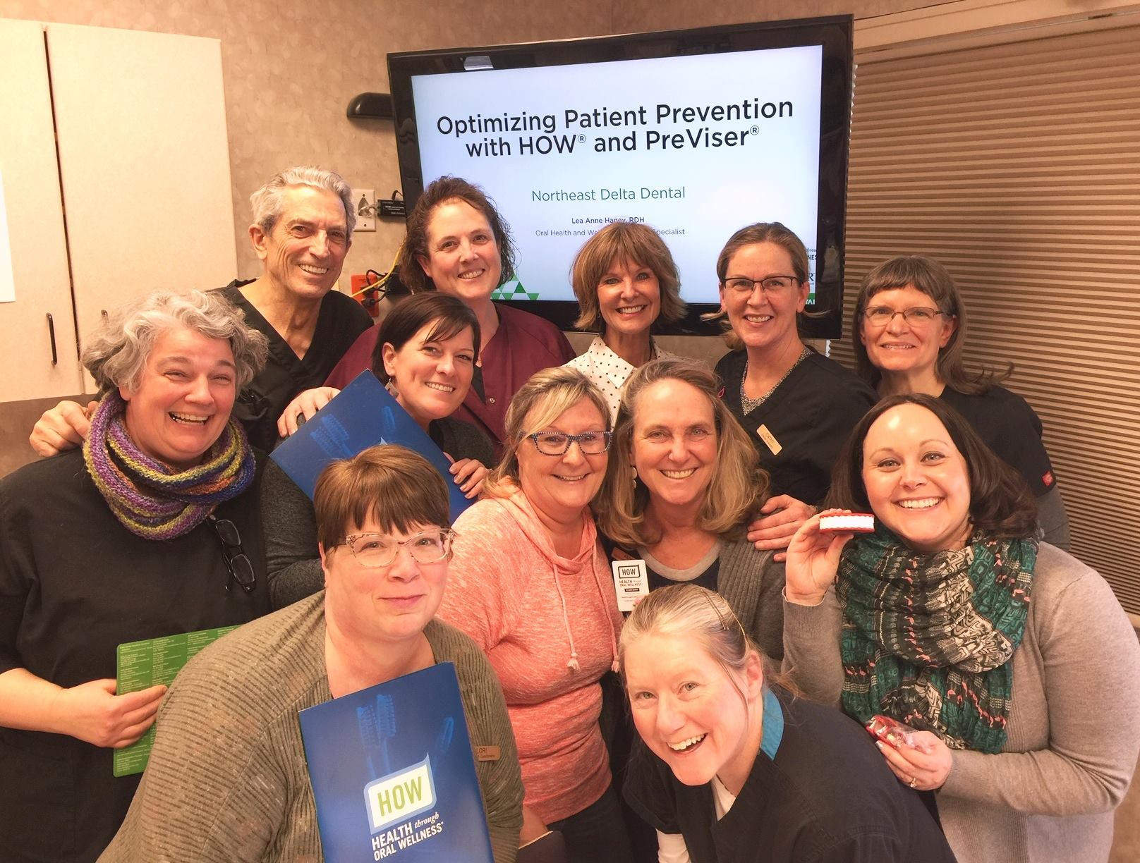 Dental Hygienist LeaAnne Hanney of Delta Dental briefed Machias Dental team on how to perform the PreViser Caries (tooth decay) Risk Assessment