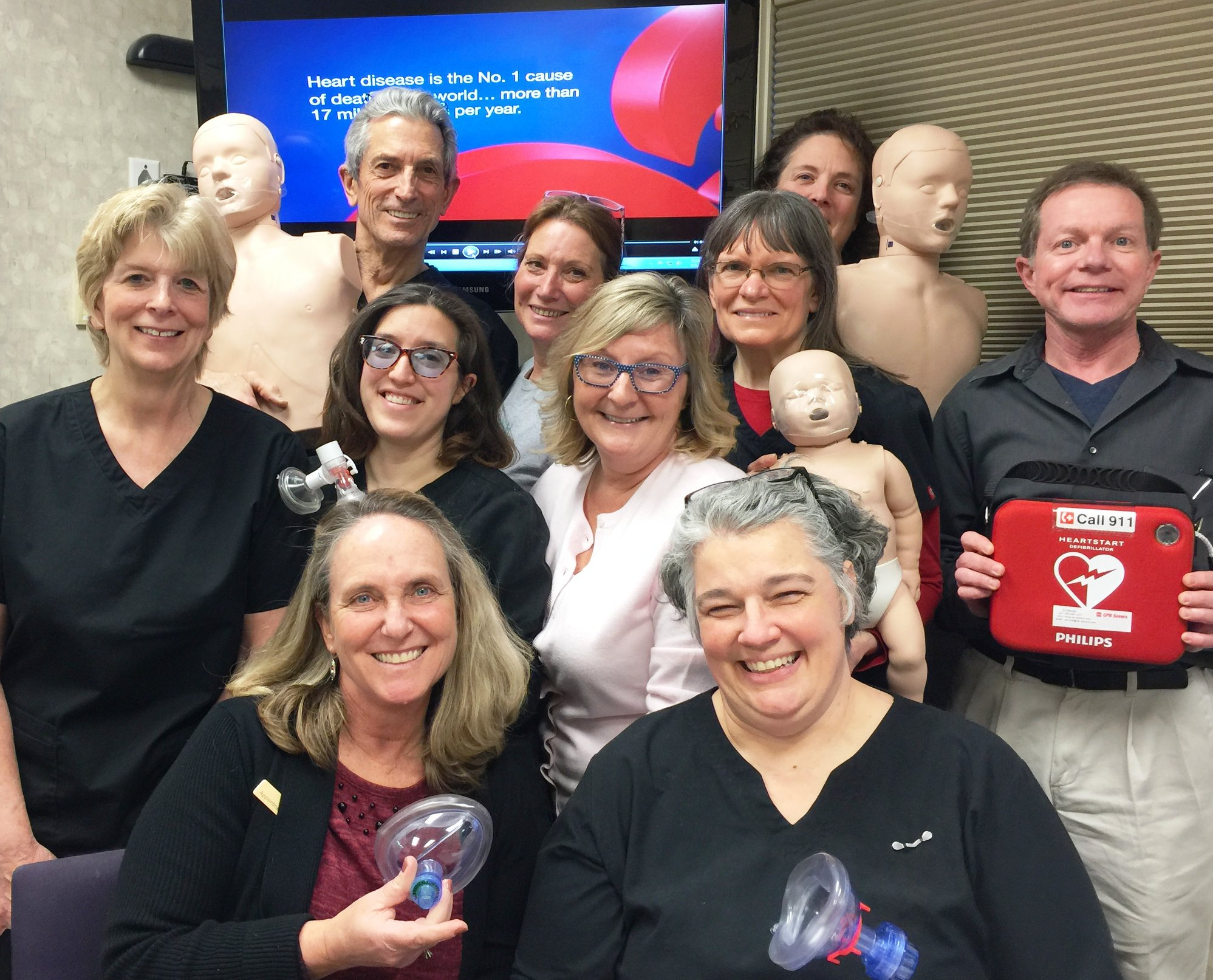 Machias Dental team getting recertified in Basic Life Support by Mardi Russ of Downeast CPR