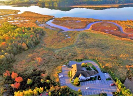 aerial view if the office with river and streams